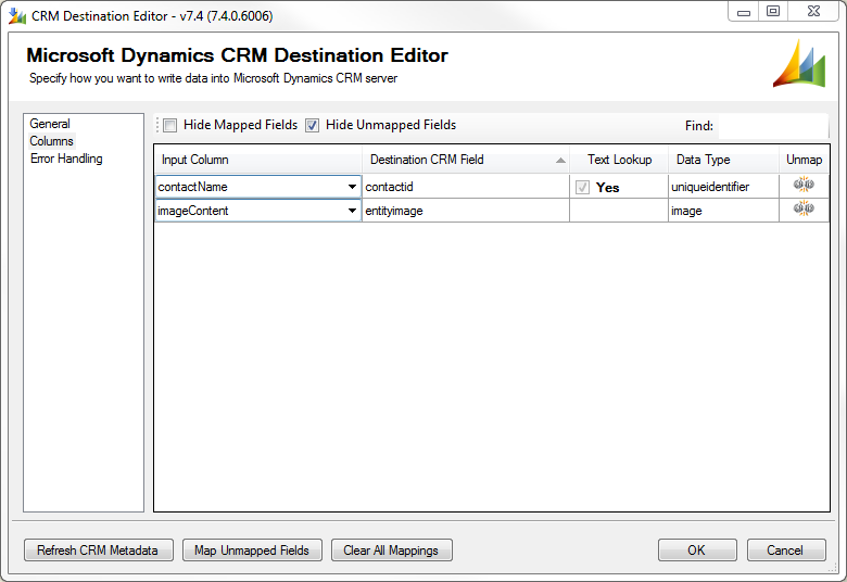 CRM SSIS Destination Componet entityimage mapping