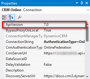 ApiVersion option for CRM Connection Manager