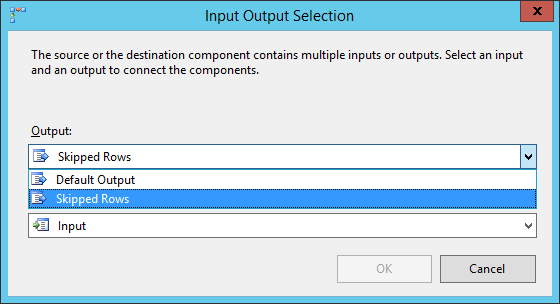 Connect to the Skipped Rows output of the first destination component