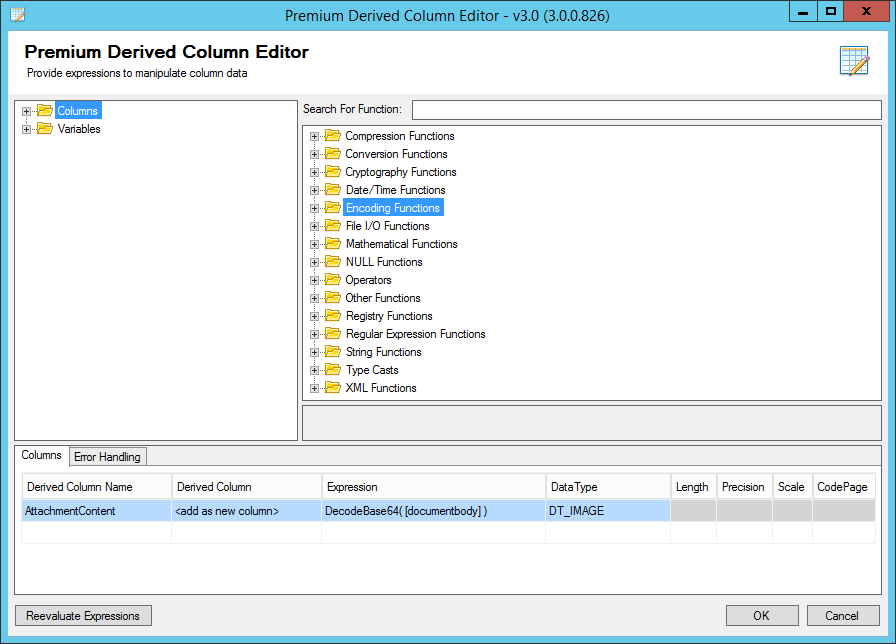 Decode CRM Attachment DocumentBody Field (using SSIS Productivity Pack - Premium Derived Column component)