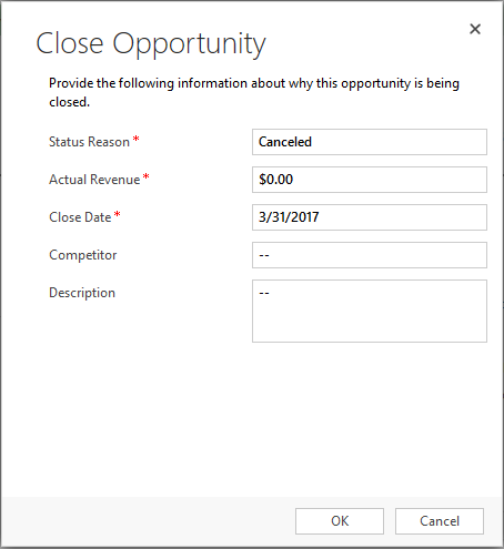 CRM Dialog to Close Opportunity