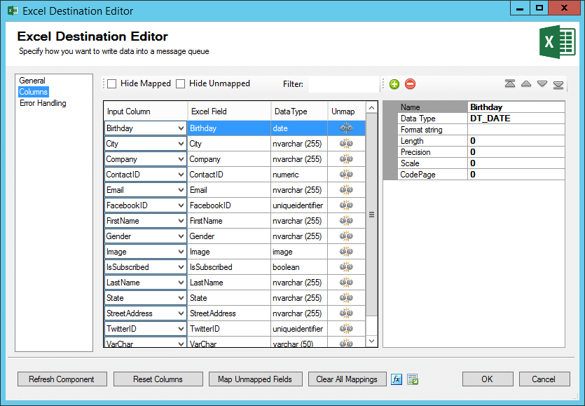 ssis excel destination mapped columns