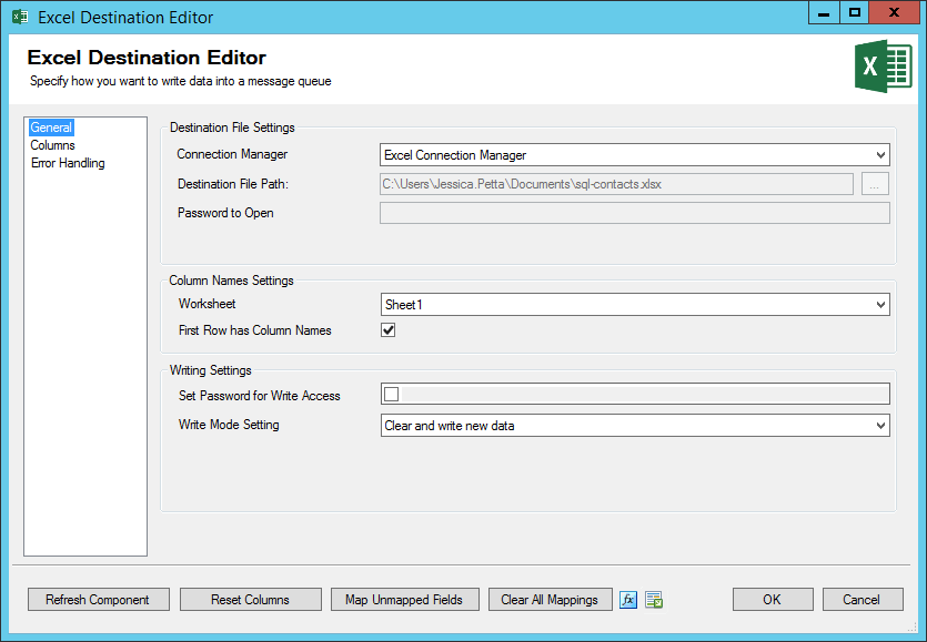 ssis excel destination