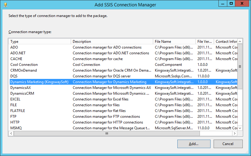 Add Connection Manager
