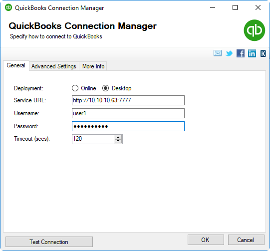 QuickBooks Connection Manager - Desktop