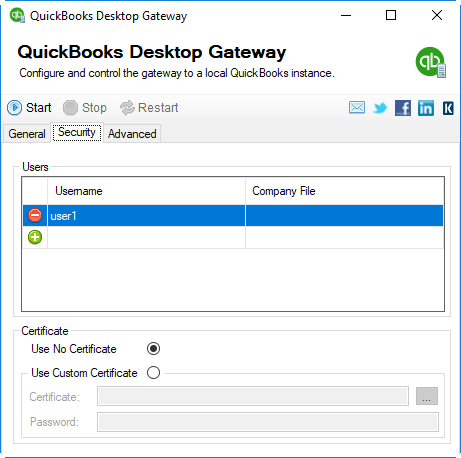 QuickBooks Desktop Gateway - Security Page