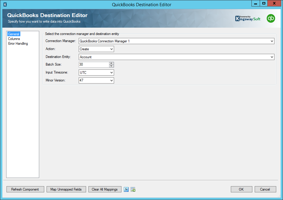QuickBooks Destination Editor