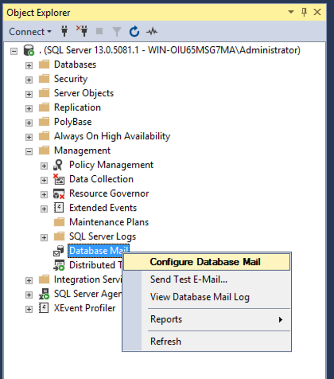 Screenshot of Configuring Database Email