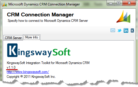 CRM Connection Manager with Version Number