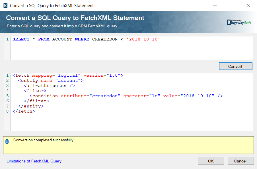 Convert a SQL Query to a FetchXML Statement