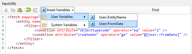 Parameterized CRM FetchXML Query