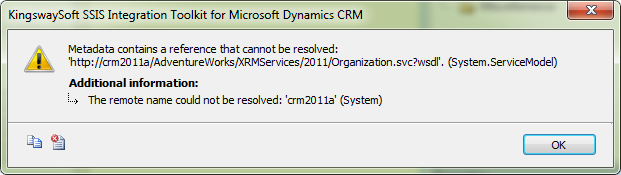 Failed to Connect in CRM Connection Manager