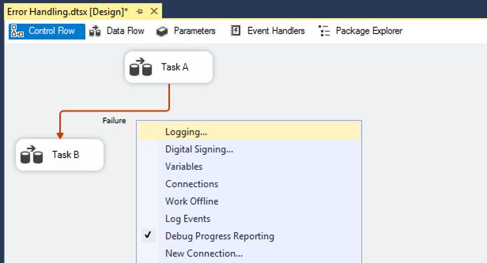 Screenshot of Error Handling in Visual Studio, Activating Logging