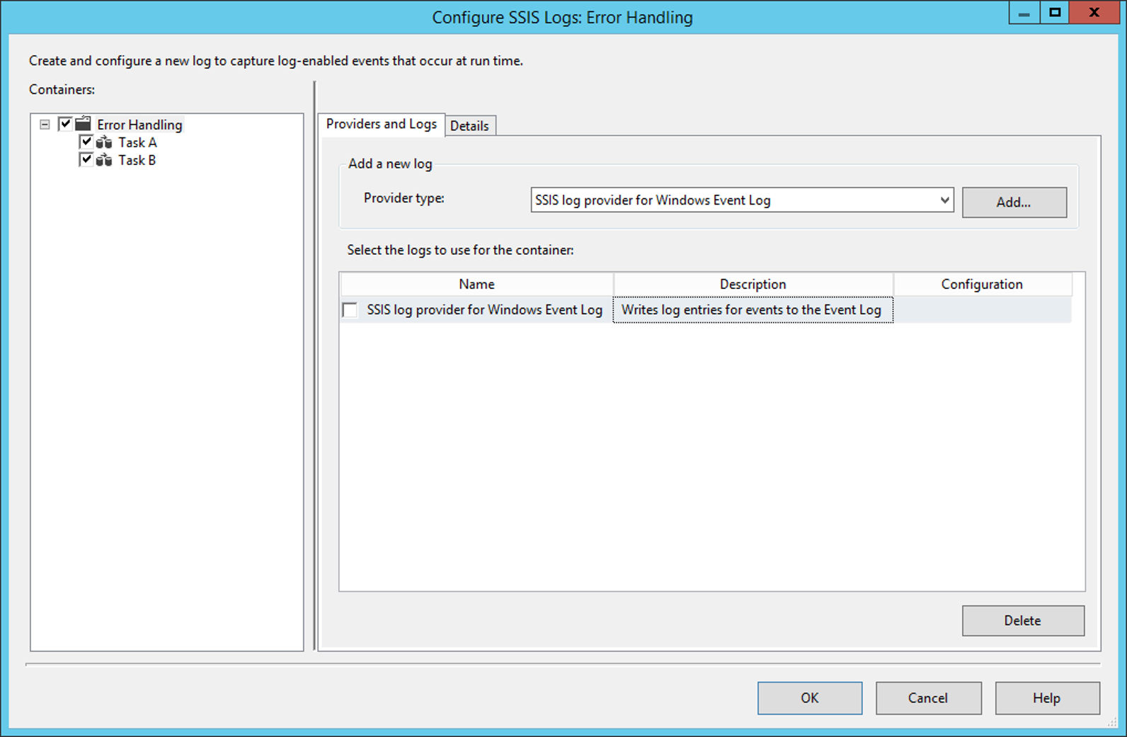 Screenshot of Configure SSIS Logs: Error Handling
