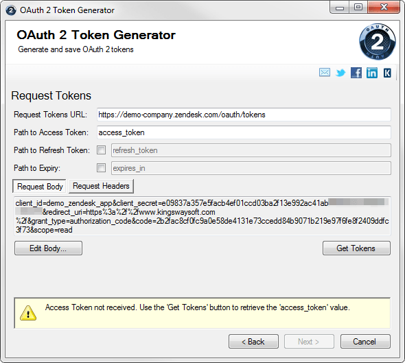 REST OAuth 2 Token Generator - request body