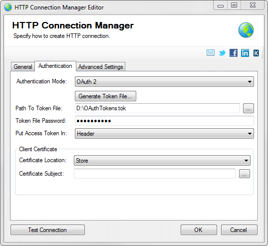 SSIS REST API Connection Manager - authentication