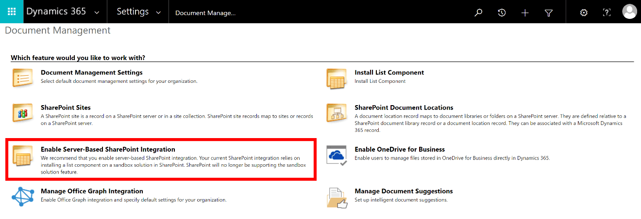 Enable Server-Based SharePoint Integration in Dynamics 365