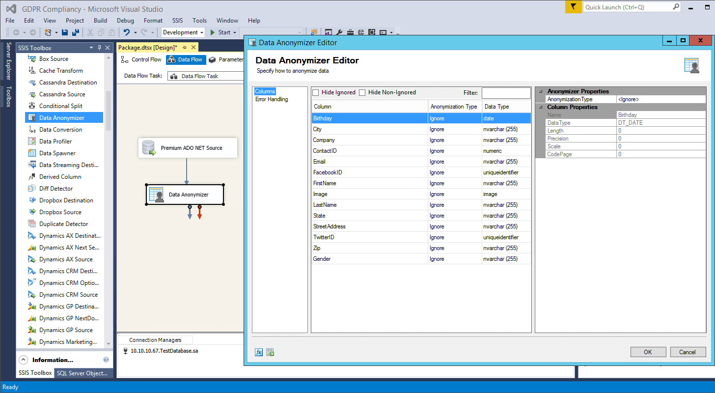 SSIS Data Anonymizer