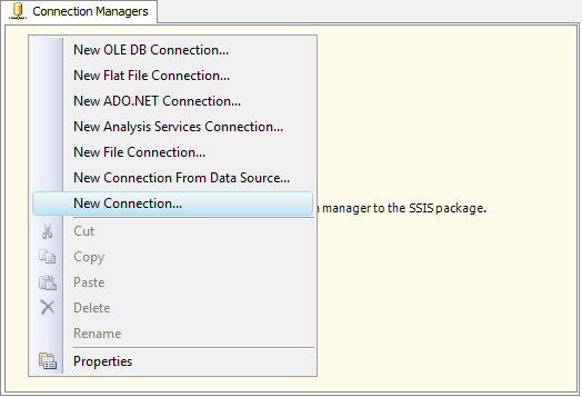 New SSIS Connection