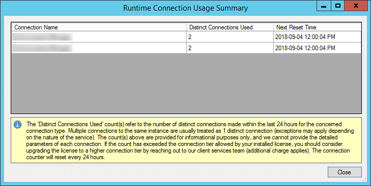 License Manager Runtime Connection Usage Summary