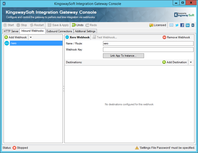 KingswaySoft Integration Gateway Console - Inbound Webhooks - Xero
