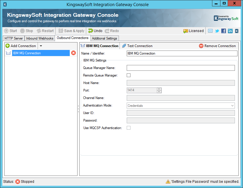 KingswaySoft Integration Gateway Console - Outbound Webhooks - IBM MQ Connection
