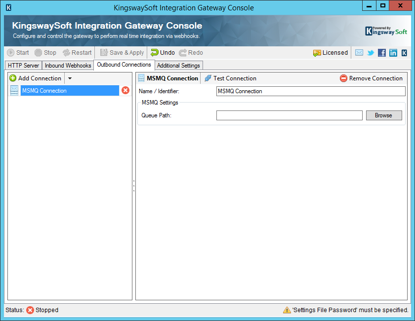 KingswaySoft Integration Gateway Console - Outbound Webhooks - IBM MSMQ Connection