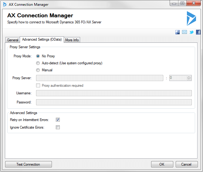 AX Connection Manager - Settings - OData