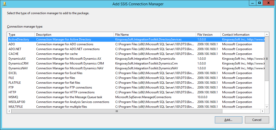 Add Active Directory Connection