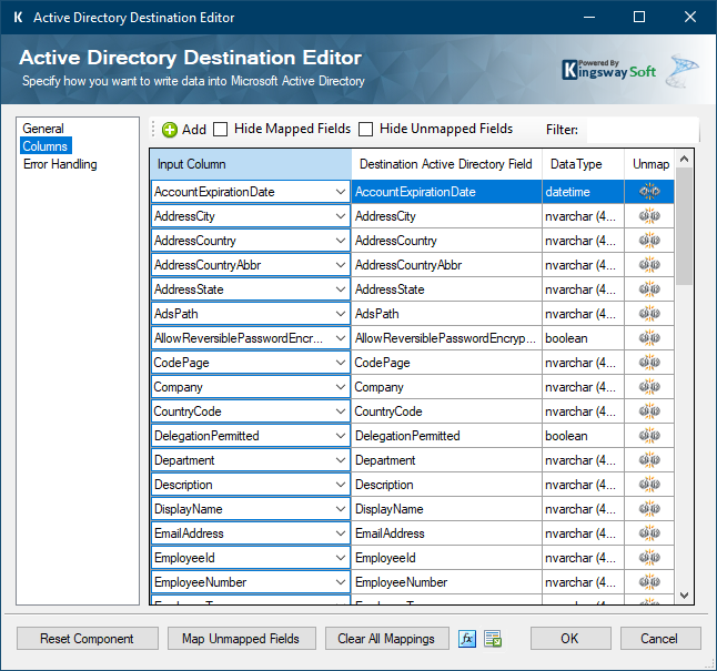 Active Directory Destination Editor