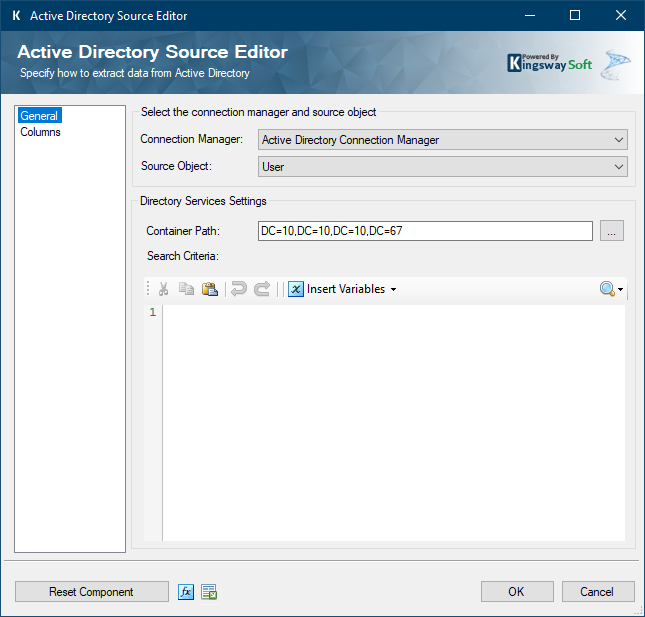 Active Directory Source Editor