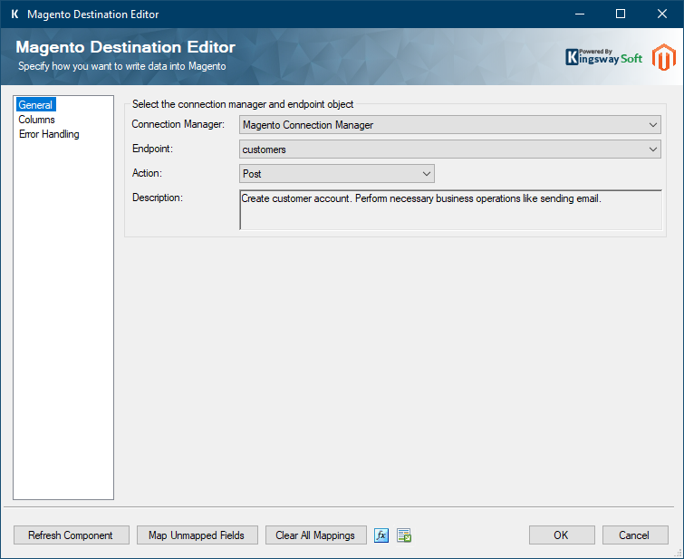 SSIS Integration Toolkit for Magento - Destination Component
