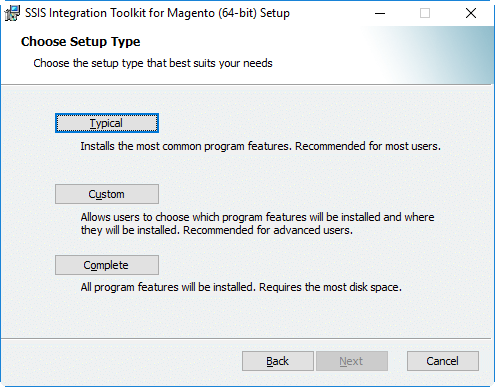 Magento Integration Installation - Choose Setup Type
