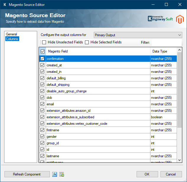 Magento Source Editor - Columns Page