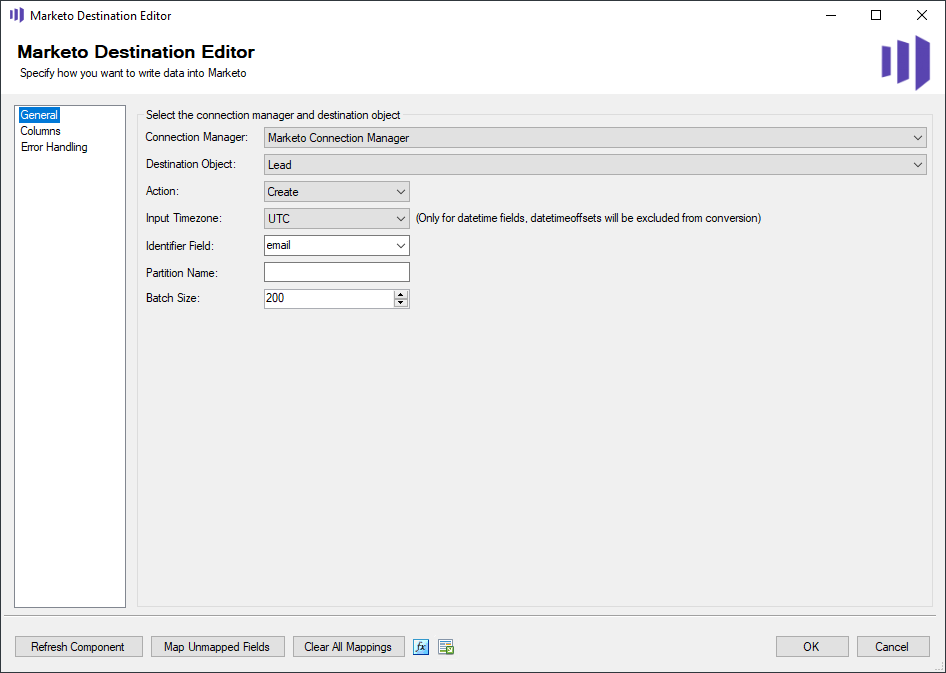 Marketo Destination Editor