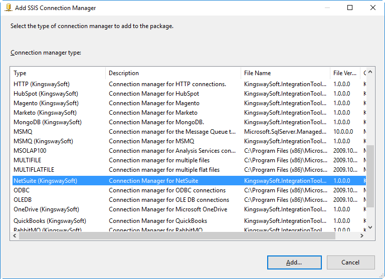 add NetSuite SSIS connection