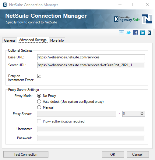 NetSuite ssis connection manager advanced settings