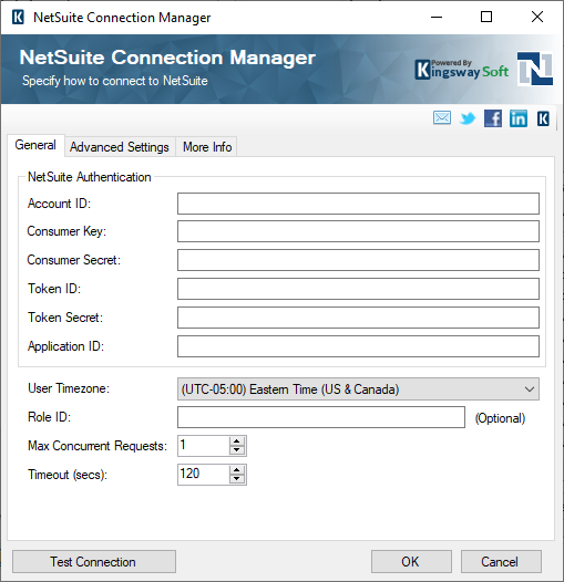 SSIS Integration Toolkit for NetSuite - NetSuite Connection Manager
