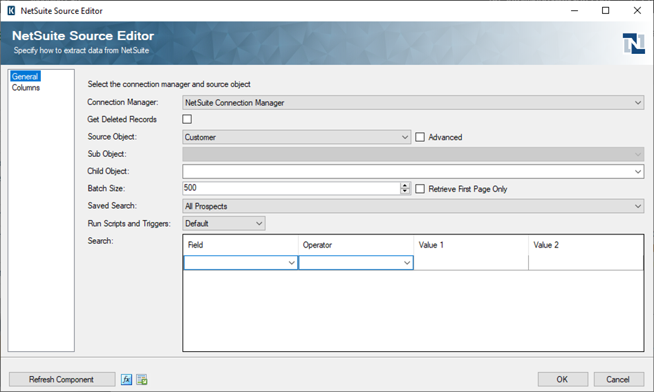 SSIS Integration Toolkit for NetSuite - NetSuite Source Component