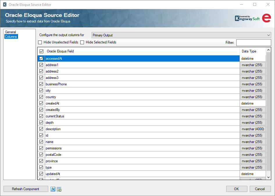 SSIS Oracle Eloqua Source - Columns