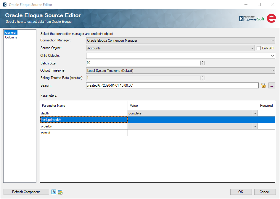 SSIS Integration Toolkit for Oracle Marketing Cloud - Eloqua Source Component