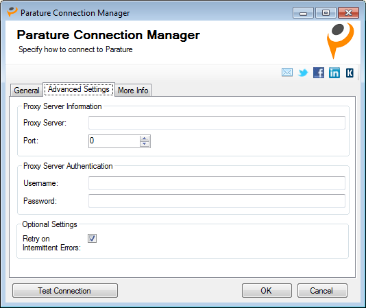 Advanced Settings - Parature Connection Manager