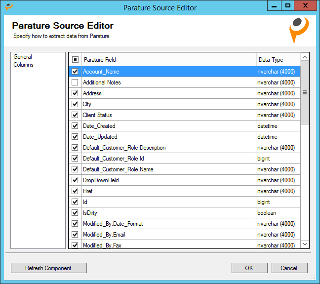 Columns - Parature Source Editor