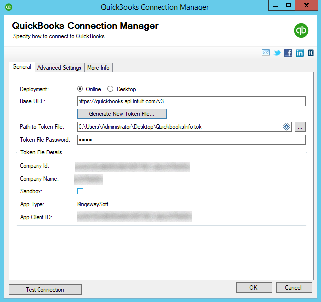 QuickBooks Connection Manager - Online