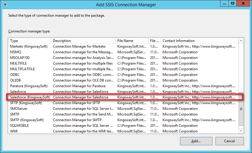 Add Salesforce Connection Manager