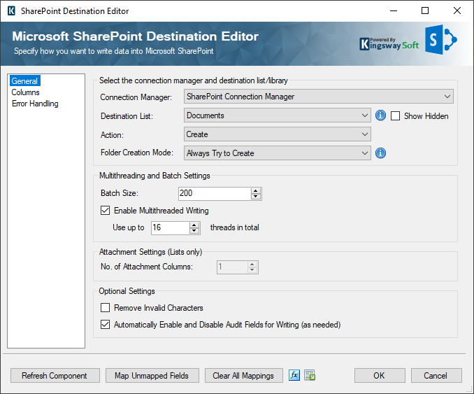 Microsoft SharePoint SSIS Destination Component