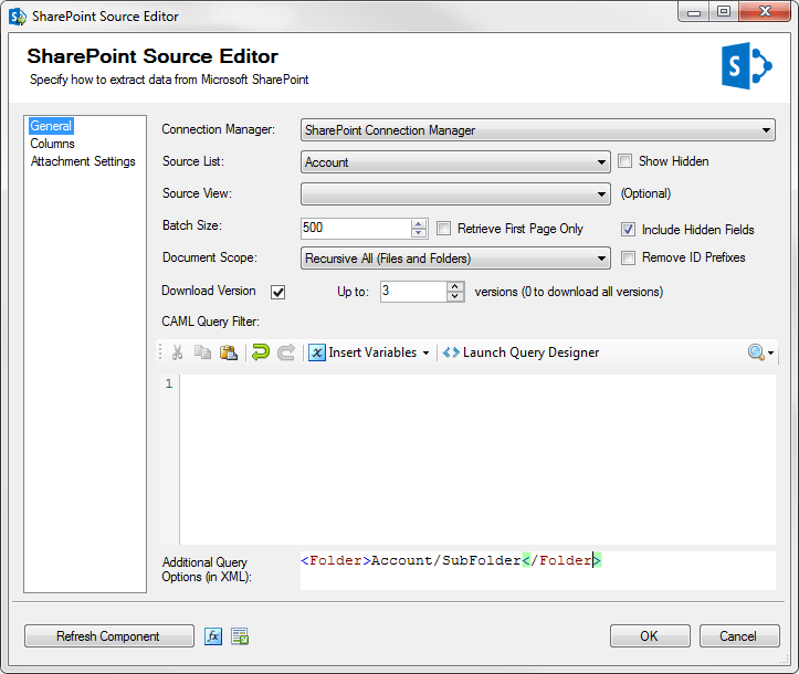 Microsoft SharePoint SSIS Source Component