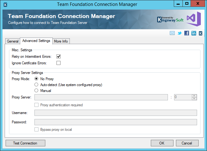 TFS Connection Manager - Advanced Settings