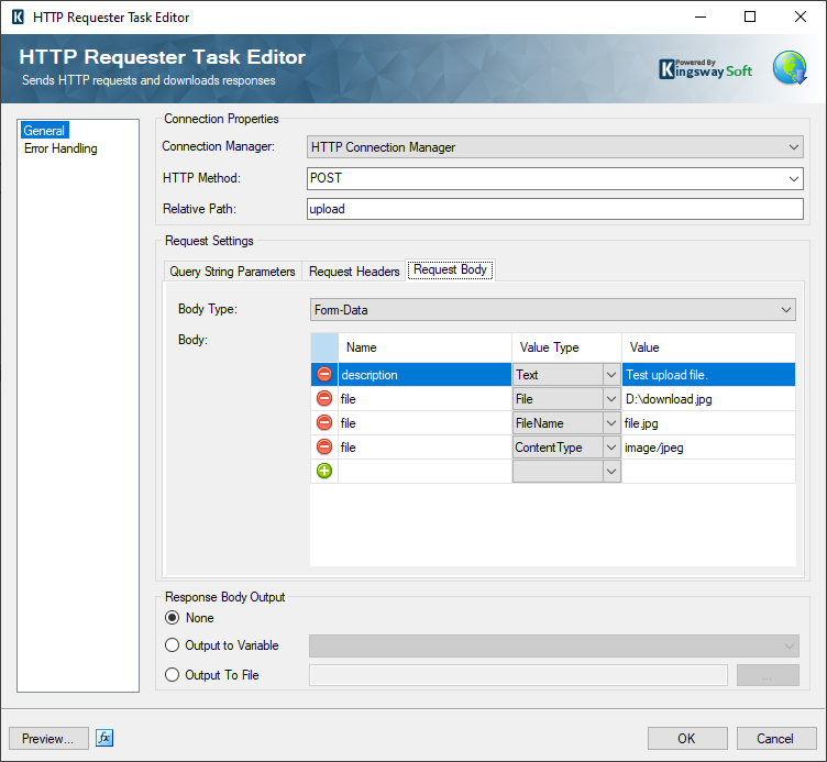Image 001 - HTTP Requester Task Configuration