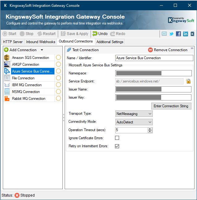 Configuring KingswaySoft Integration Gateway - Outbound Connections